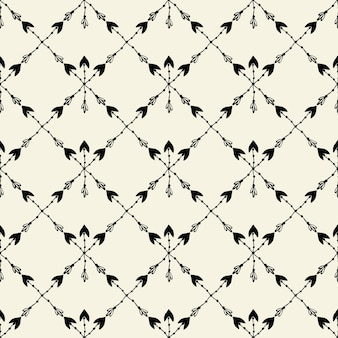 Vector seamless ethnic pattern with arrow. seamless pattern in native american style. tribal arrows on white background.