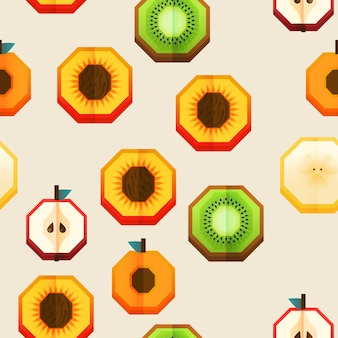 Vector seamless fabric pattern, print design with fruits half.