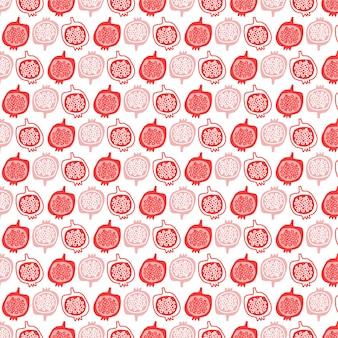 석류 과일 일러스트 디자인 배경 벡터 원활한 패션 패턴
