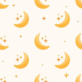 벡터 원활한 평면 패턴입니다. 별이 있는 간단한 초승달 또는 달 아이콘입니다. 별이 빛나는 하늘이나 공간의 유치한 귀여운 배경이나 벽지.