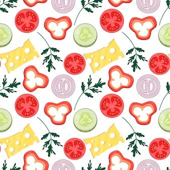 Вектор бесшовные плоский узор с ломтиками овощей и сыра ингредиенты для приготовления пищи