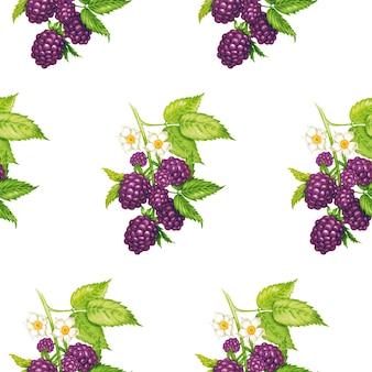 블랙 베리와 벡터 원활한 꽃 패턴입니다.