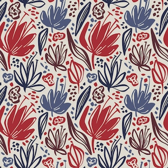 Vector seamless floral pattern with minimalistic flowers on light background.