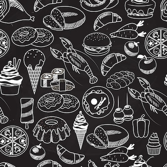 Vector seamless food on chalkboard for wallpapers.mostly used in restaurants designs.