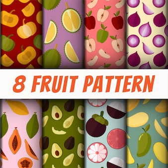 Vector seamless fruit pattern set