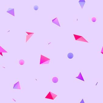 ベクトルのシームレスな幾何学的な3d形状パターン。流行に敏感なファッションメンフィススタイルの背景。ライラック、紫、ピンクの円と三角形