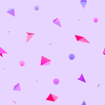 Vector seamless geometric 3d shapes pattern. hipster fashion memphis style background. lilac, purple, pink circles and triangles