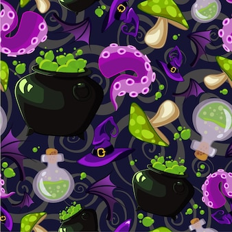 Vector seamless halloween pattern with witchcraft elements.