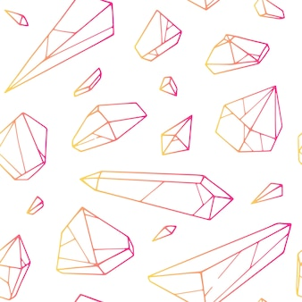 Vector seamless hand drawn crystal pattern