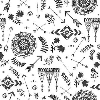 벡터 원활한 손으로 그린 낙서 부족 패턴, 배경, 부족 스타일. 포장, 천, 데카로에 사용.