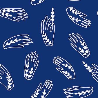 파란색 배경 벡터 원활한 손 패턴입니다.