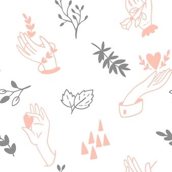 흰색 바탕에 벡터 원활한 손 패턴입니다.