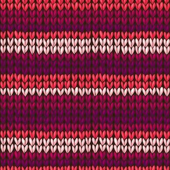 ベクターのシームレスなニットパターン、メリヤス編みのテクスチャ