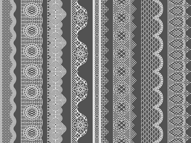 Vector seamless lace ribbon borders