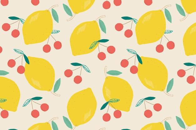 Vector seamless lemon cherry pattern pastel background