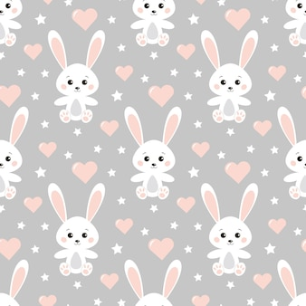 Вектор бесшовные прекрасный романтический узор с милыми кроликами, сердцами, звездами на сером фоне.