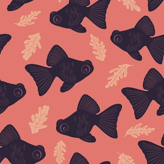Vector seamless marine pattern with fish ocean life and sea creatures nautical background