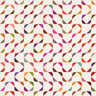 Vector seamless multicolor maze arcs geometric pattern