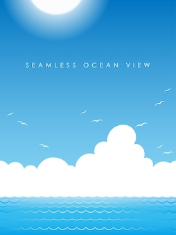 Vector seamless ocean view