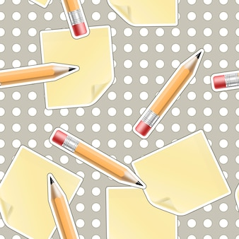 Вектор бесшовные офисный фон с карандашами и листами