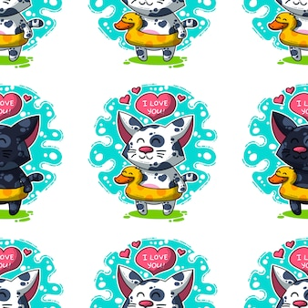 Vector seamless pattern about cats in love