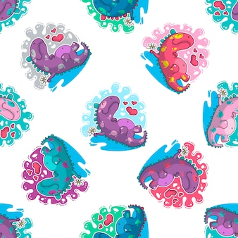 Vector seamless pattern about dinozaur in love