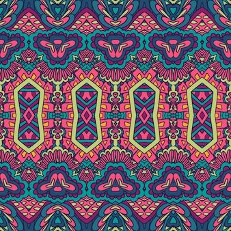 벡터 원활한 패턴 추상 기하학 다채로운 민족 기하학적 환각 인쇄