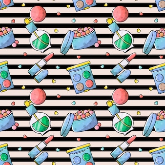 Vector seamless pattern accessories for makeup