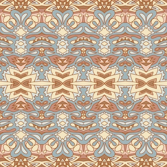 ベクトルのシームレスなパターンアフリカの芸術バティックイカット。エスニックプリントのヴィンテージ生地のデザイン。