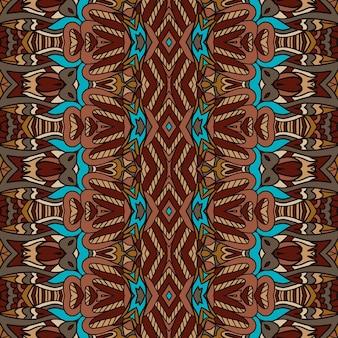 ベクトルシームレスパターンアフリカンスタイルアートバティックイカット。エスニックな部族の敷物のデザイン。