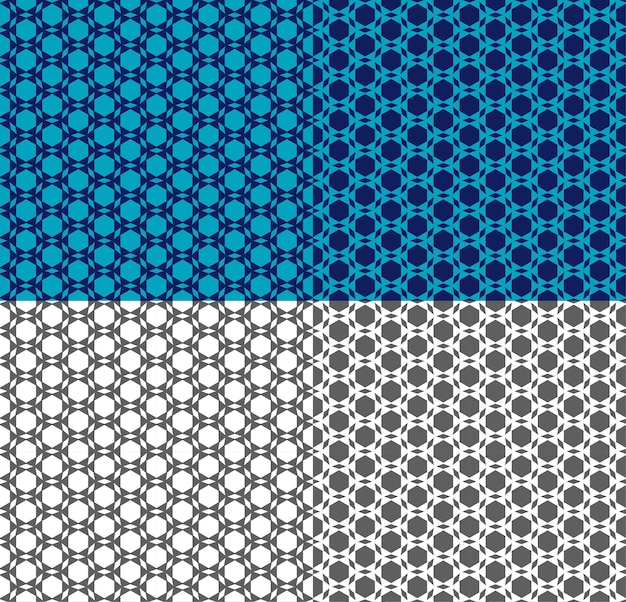 Vector seamless pattern in arabic style. ethnic ornament with triangle, hexagon. geometric monochrome, blue background for wallpaper, textile print, backdrop, fabric. color inversion. simple shapes.