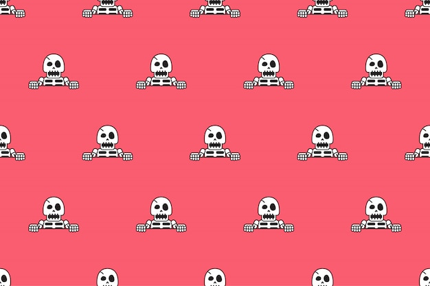 Vector seamless pattern background of funny skeleton