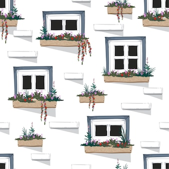 Vector  seamless pattern background of wall with windows
