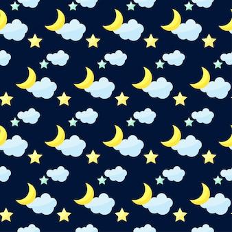 어두운 표지에 밝은 색의 만화 달, 구름, 별이 있는 벡터 원활한 패턴 배경