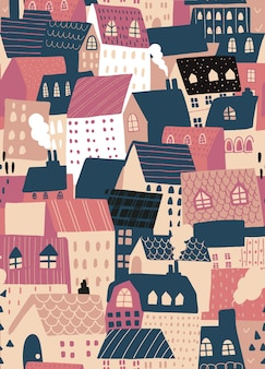 Vector seamless pattern background with european houses