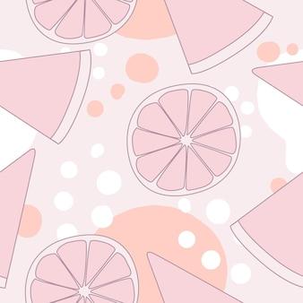 벡터 완벽 한 패턴입니다. 레몬, 분홍색 수박이 있는 배경. 벽지, 카드 및 섬유에 좋습니다.