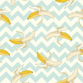 ベクターのシームレスパターンバナナ。かわいいスタイルで作られました。