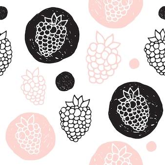 Vector seamless pattern of berries. the cartoon style. scandinavian style.
