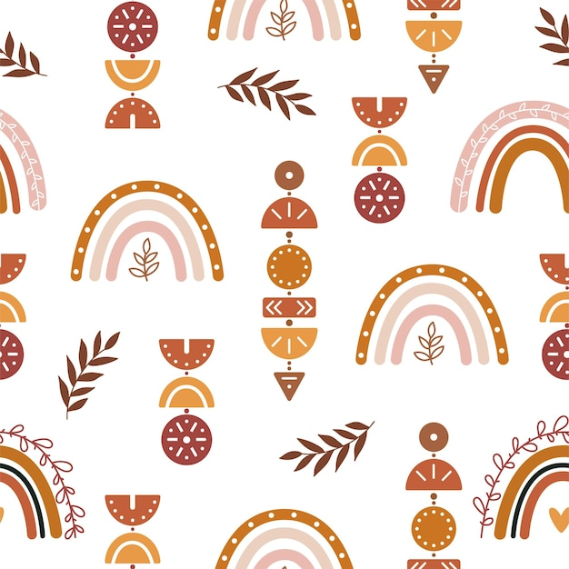 Vector seamless pattern boho background for nursery decoration with cute rainbows