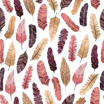 Vector seamless pattern in boho style with feathers in the flat style.