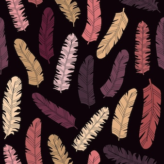 Vector seamless pattern in boho style with feathers in the simple style.