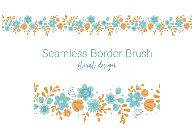 Vector seamless pattern brush with green leaves with orange and blue flowers on white space. floral border ornament. trendy hand drawn flat illustration