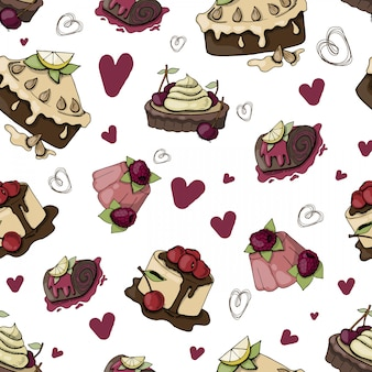 Vector seamless pattern of cakes
