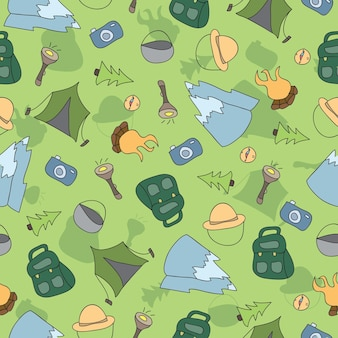 Vector seamless pattern of camping elements - hand drawn doodle background
