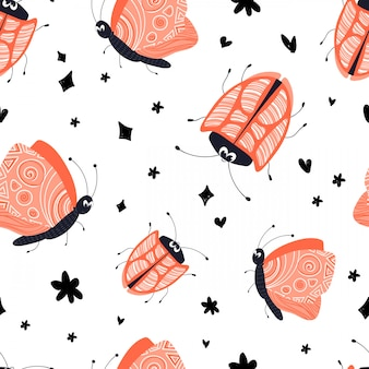 Vector seamless pattern cartoon beetle