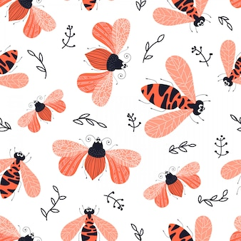 Vector seamless pattern - cartoon bug or beetle, flat