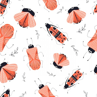 Vector seamless pattern - cartoon bug or beetle, flat