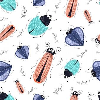Vector seamless pattern. cartoon bug, beetle