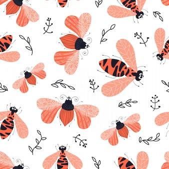 벡터 원활한 패턴-만화 버그 또는 딱정벌레, 평면