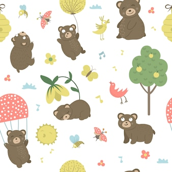 Vector seamless pattern of cartoon style hand drawn flat bears in different poses. repeat space of funny scenes with teddy. cute illustration of woodland animals for print